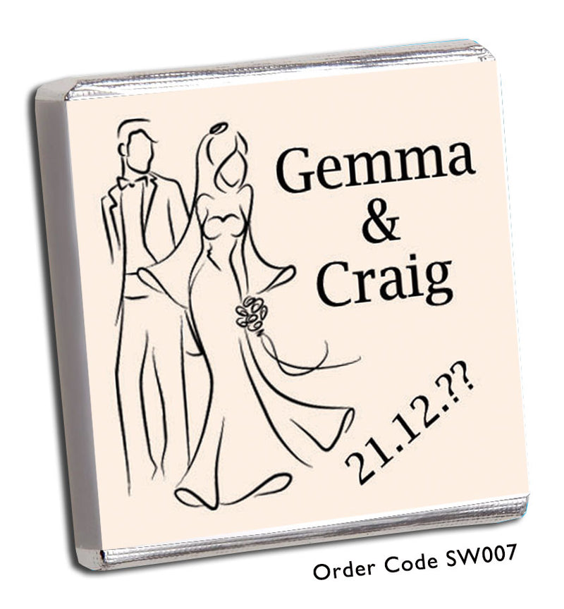 Silhouette Bride and Groom Personalised Wedding Favours - Chunky Monkey Chocolate
