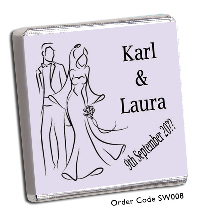 Silhouette Bride and Groom Personalised Chocolate Wedding Favours - Chunky Monkey Chocolate