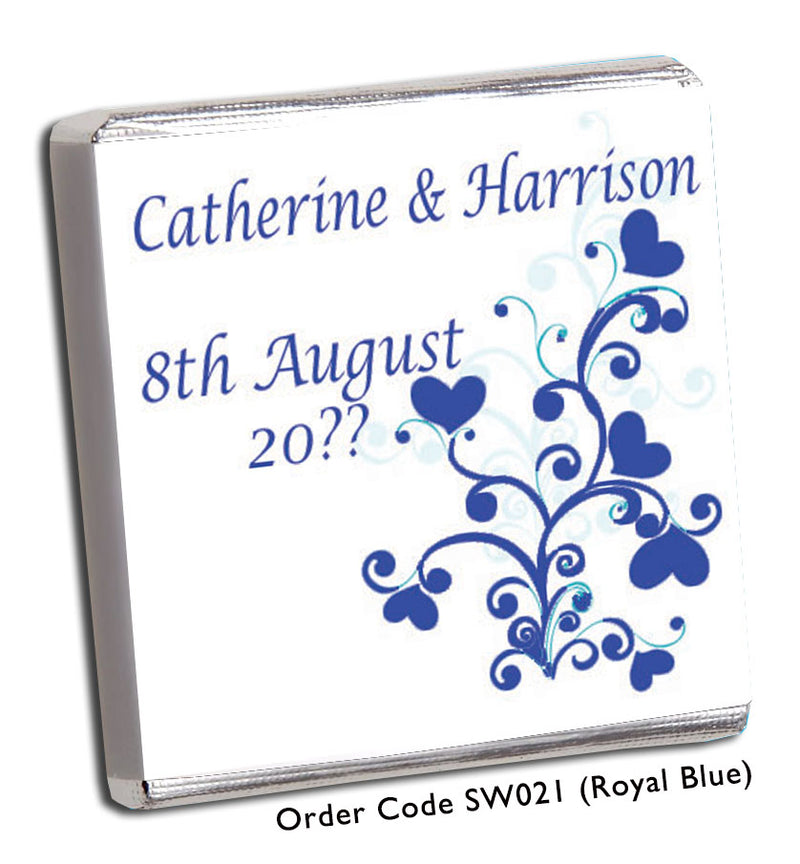 Turquoise or Blue Swirl Personalised Wedding Favour - Chunky Monkey Chocolate