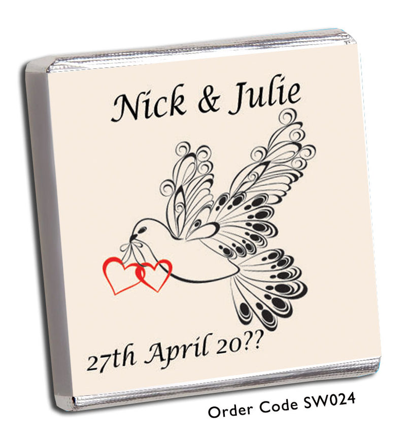 Dove And Red Heart Personalised Wedding Favour - Chunky Monkey Chocolate