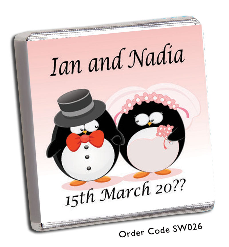 Penguin Bride and Groom Wedding Favours - Chunky Monkey Chocolate