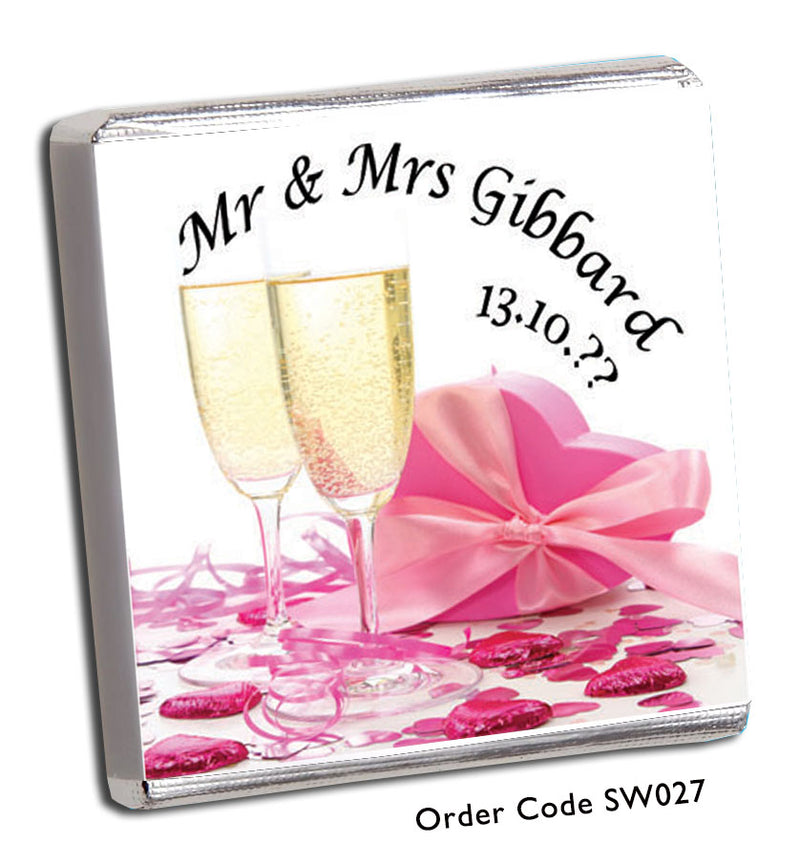 Pink Champagne Glass Wedding or Wedding Anniversary Favours - Chunky Monkey Chocolate