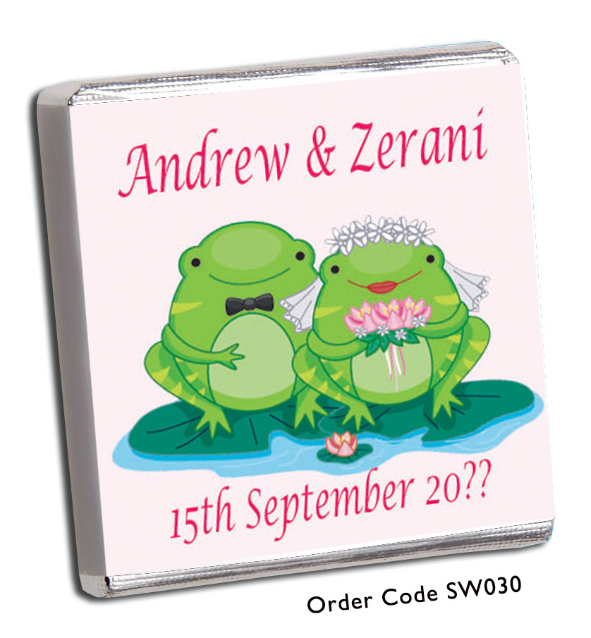 Frog Bride and Groom Personalised Chocolate Wedding Favour - Chunky Monkey Chocolate