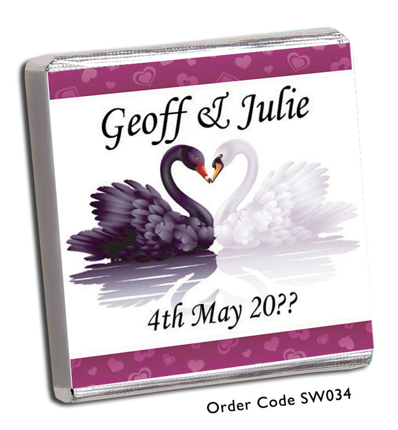 Black And White Swans Chocolate Wedding Favour - Chunky Monkey Chocolate