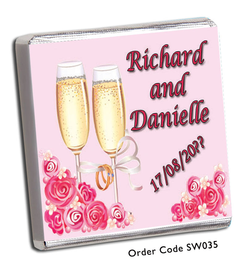 Champagne Glasses And Roses Wedding Favour - Chunky Monkey Chocolate