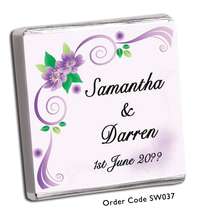 Purple Swirl And Flower Wedding Favour - Chunky Monkey Chocolate