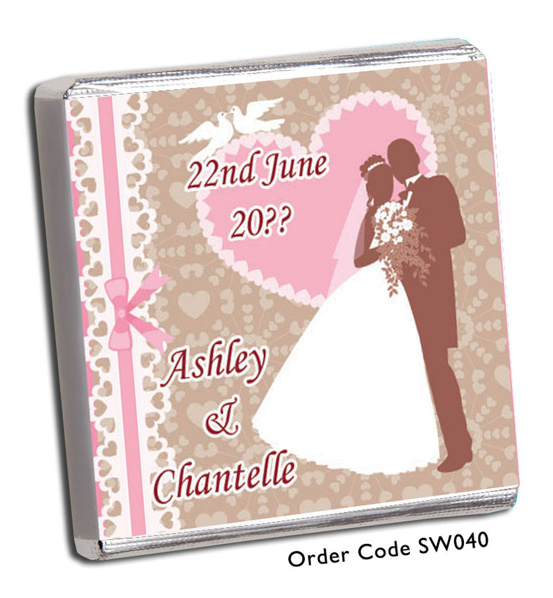 Pink Silhouette Bride and Groom Chocolate Wedding Favour - Chunky Monkey Chocolate