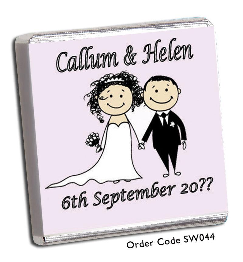 Cartoon Bride and Groom Personalised Wedding Favour - Chunky Monkey Chocolate
