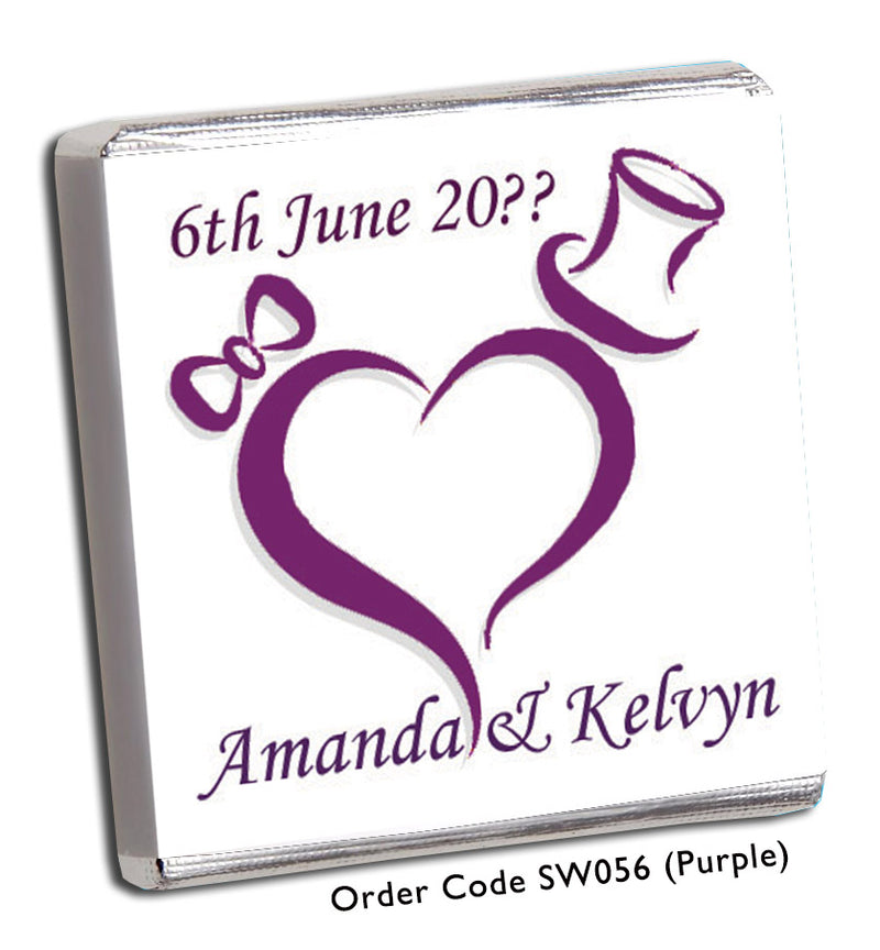 Red or Purple Heart Wedding Favour - Chunky Monkey Chocolate