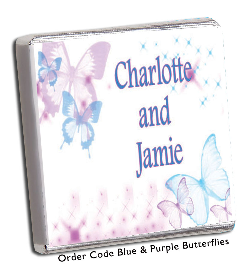 Pale Blue & Purple Butterfly Wedding Favours - Chunky Monkey Chocolate