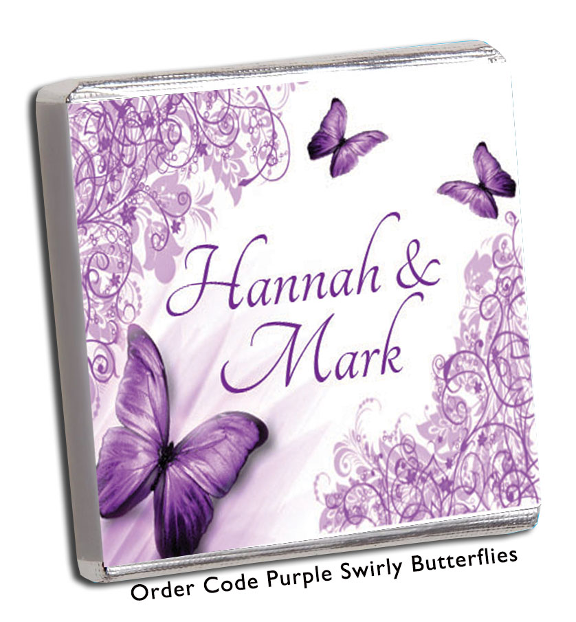 Vintage Purple Butterflies Personalised Wedding Favours - Chunky Monkey Chocolate