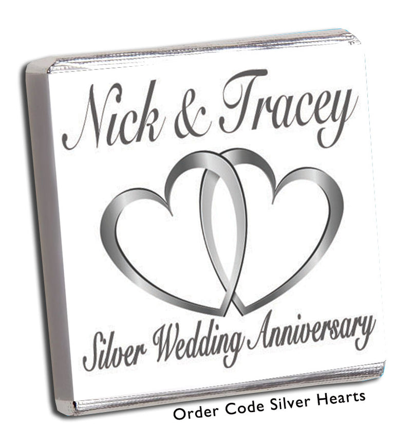 Large Silver Hearts Anniversary Favour - Chunky Monkey Chocolate