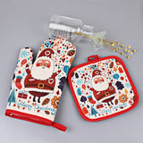 1 Set Christmas Baking Anti-Hot Gloves And Pad Oven And Microwave Insulation Mat