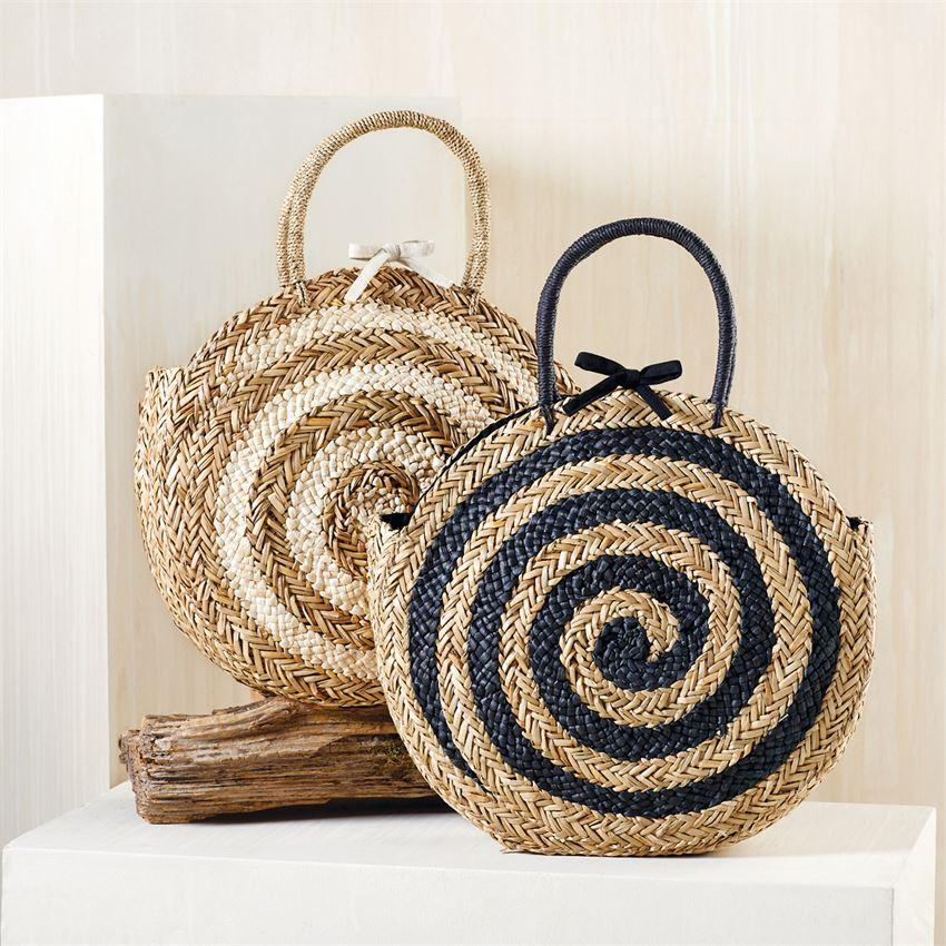 Large Spiral Circle Tote - Natural