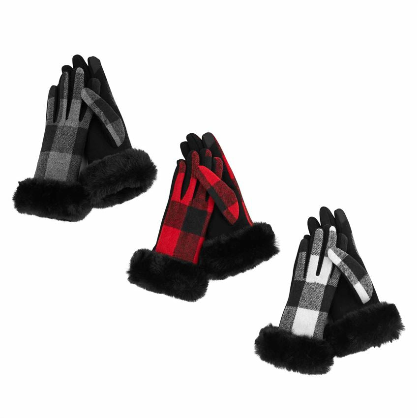 Plaid Fur Cuffed Gloves