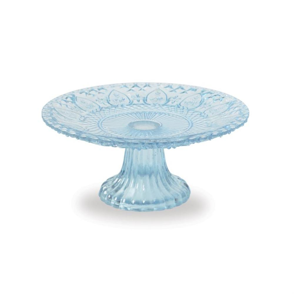 Blue Textured Glass Pedestal Stand