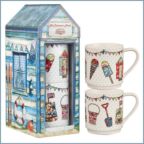 Queens - Caravan Trail - Beach Huts Set Of 2 Stacking Mugs