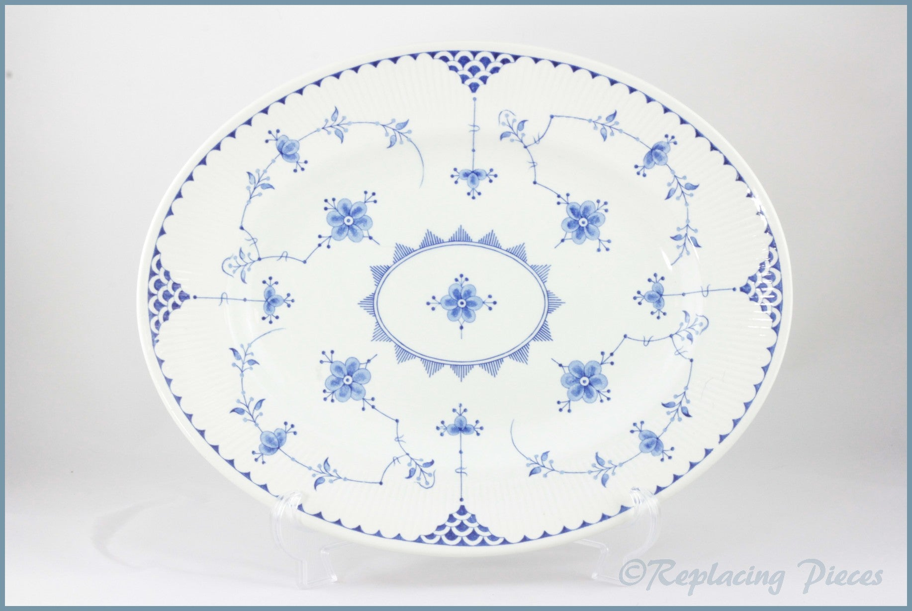 "Furnivals - Denmark Blue - 14"" Oval Platter"