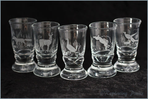 Set Of 5 Woodland Animal Tot Glasses