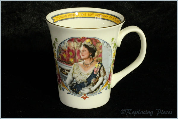 Crown Staffordshire - Commemorative Mug - 80th Birthday Queen Mother