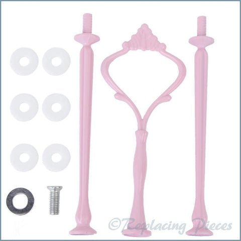 3 Tier - Ornate Handle Cake Stand Kit - Pink