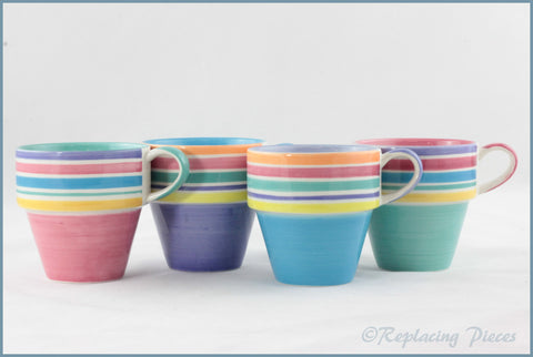 RPW104 - Whittards - Set Of 4 Stripy Stacking Mugs