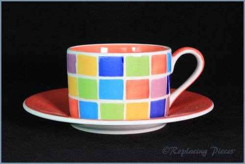 RPW51 - Whittards - Teacup & Saucer (Multi-Coloured Squares)