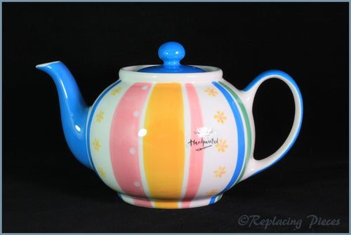 RPW64 - Whittards - 2 Pint Teapot (Pink, Yellow, Green & Blue Stripes)