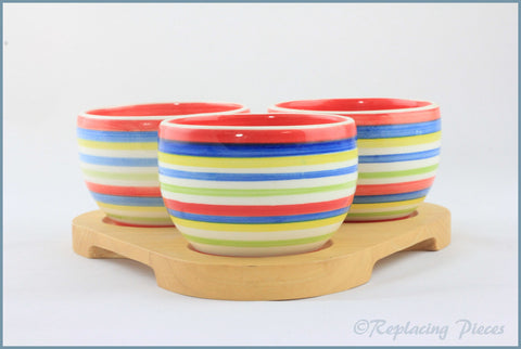 RPW84 - Whittards - Dip Bowls On Tray (Stripes)