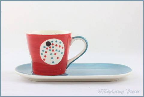 RPW89 - Whittards - Red/Blue Plate & Spotty Cup