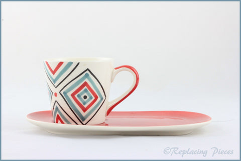 RPW90 - Whittards - Blue/Red Plate & Square Patterned Cup