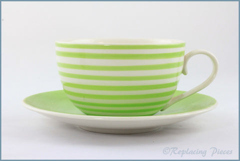 RPW92 - Whittards - Green Stripe Jumbo Cup & Saucer