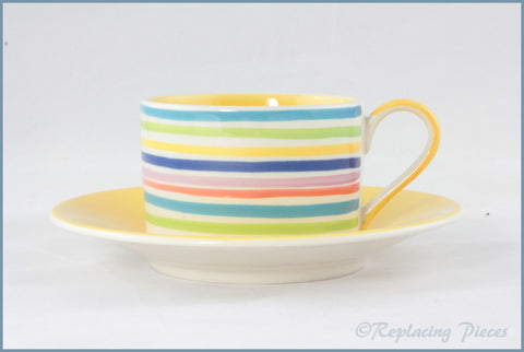 RPW110 - Whittards - Teacup & Saucer (Horizontal Stripes - Yellow Interior)