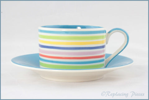 RPW111 - Whittards - Teacup & Saucer (Horizontal Stripes - Blue Interior)