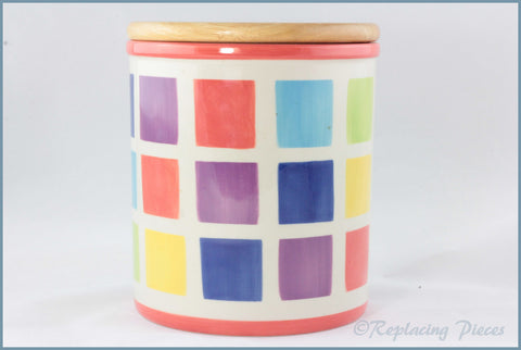 RPW113 - Whittards - Storage Jar (Multi Coloured Squares)