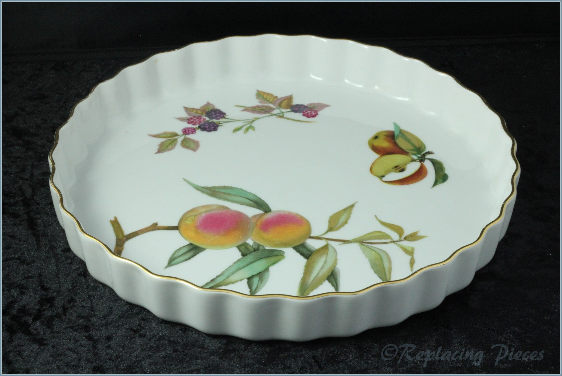 "Royal Worcester - Evesham Gold - 10 1/2"" Flan Dish"