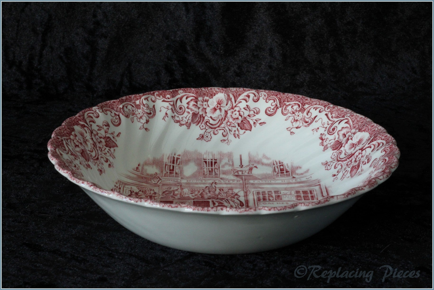 Johnson Brothers - Coaching Scenes (Pink) - Soup Bowl