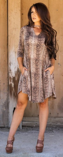 Brown Snake Keyhole Dress