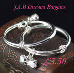 Small Bell  plain Silver Plated Childrens bangle - JAB Discount Bargains