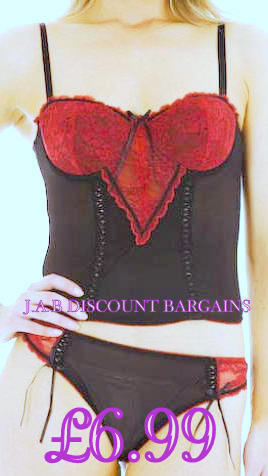 Sexy Basque and Thong set Black and Red - JAB Discount Bargains