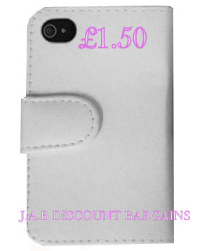 White Flip Wallet Case Cover for iPhone 4 - JAB Discount Bargains