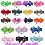 Handmade Baby Girl Polka Dot Hair Bow Hairband/headband - JAB Discount Bargains