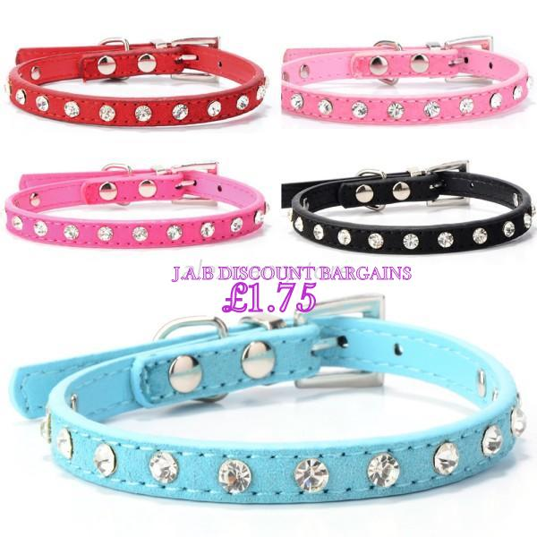 Adjustable PU Leather Dog Collar/ cat collar Crystal Neck Strap - JAB Discount Bargains