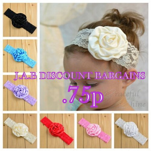 Girls rose Soft lace Elastic Headband/hairband - JAB Discount Bargains