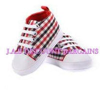 Infants Baby Casual Sole Crib Shoes Prewalkers Sneaker Red checked