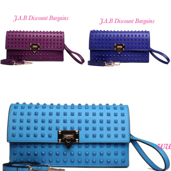 MISS LULU LEATHER LOOK STUDDED ENVELOPE CLUTCH BAG