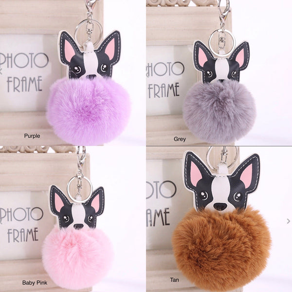 Fluffy Pom Pom Dog Shape Key Chain Rex Rabbit Fur Ball Keyring Charm Bag Pendant - JAB Discount Bargains