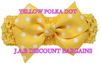 Handmade Baby Girl Polka Dot/plain Hair Bow Hairband/headband Yellow