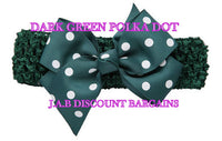 Handmade Baby Girl Polka Dot/plain Hair Bow Hairband/headband Dark green