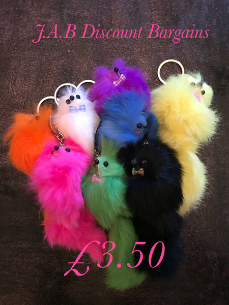 Fun Fluffy Fur Keyring Toy Dog Charm keyring - JAB Discount Bargains